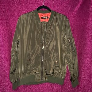 Jackets & Blazers - Olive Bomber Jacket by Mega Wear